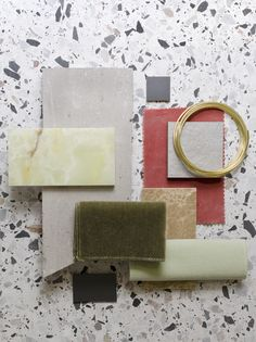 Weekly material mood 〰 Lime green onyx, pink velvet and terrazzo. #onyx #limegreen #olivegreen #stone #stonecondk #brass #marble #terrazzo #studiodavidthulstrup #interior #architecture #design #material #materialmood #moodboard