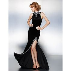 Sheath/Column High Neck Court Train Velvet Evening Dress (2067612) – USD $ 179.99