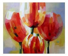 Dipinto a mano su tela Rossi tulipani - 50x60 cm