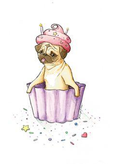 Poster Pug Cupcake do Studio Rodrigofalco por R$55,00