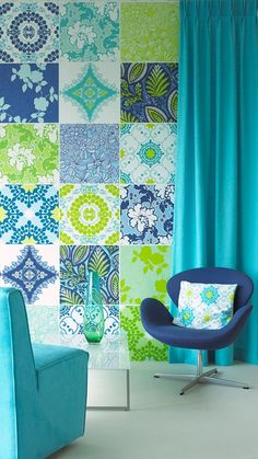 Blue, turquoise, green pattern wallpaper from InTrade's Amore di Colore Wallpaper Collection, Textiles, Blue Wallpapers, Turquoise, Aqua, Green Pattern, Inspiration Wall, Wall Treatments, Surface Pattern Design