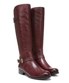 Look what I found on #zulily! Wine Joan Wide-Calf Leather Boot by Naturalizer #zulilyfinds