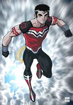 Random thoughts that lead to this fanart design. I love Marvel's Wiccan.I think DC should have a strong teen titan gay character as good as him. I love Wonder Woman mythos. If there was a Wonder Boy, he would be gay almost by default. It would make so much sense.