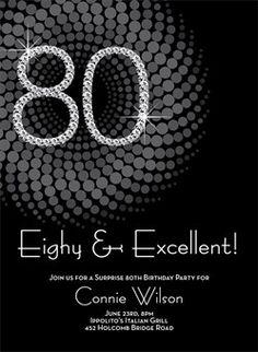 Bling 80th Birthday Party Invitation