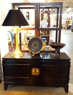 "Chic Black Cabinet   44"" Wide x 24"" High x 15"" Deep   $400  Rubbish Designer Vintage Finds Dealer #3501  Lucas Street Antique Mall 2023 Lucas Dr. Dallas, TX 75219  Like us on Facebook: ht"