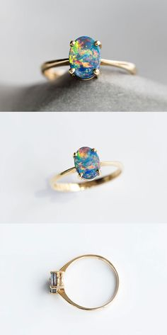 Oval Australian Rainbow Doublet Black Opal Engagement Ring 18k Yellow Gold with Beautiful Play-of-Color. Size 6.5. Free Gift Box with Every Opal Order! Natural Australian Doublet Opal, 0.78 ct. Every Opal piece is Unique. | eBay!