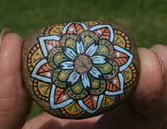 Hand Painted Stone Mandala Itty Bitty River Stone Fall Autumn Colors