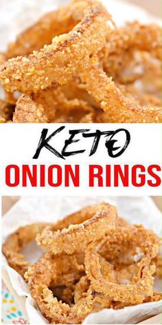BEST Keto Onion Rings! EASY Low Carb Onion Ring Recipe – BEST Snack, Appetizer or Parties Idea! Perfect keto food idea for dinner, lunch, side dish or appetizer for parties (Easter party food, basketball food idea, birthday, bridal shower & more). Healthy food - gluten free & sugar free. Yummy keto recipes - check out how easy this low carb keto recipe is to make :) #keto #ketorecipes #ketoappetizer