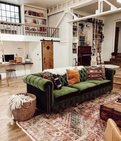old industrial house with a beautiful green velvet sofa, . An old industrial house with a beautiful green velvet sofa, .An old industrial house with a beautiful green velvet sofa, . My Living Room, Home And Living, Living Room Furniture, Home Furniture, Living Room Decor, Living Spaces, Cozy Living, Green House Furniture, Green Living Rooms