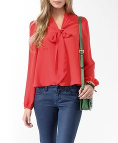 like the cut, not sure if i can pull off flashy colored tops:) Solid Tie Neck Blouse | FOREVER21 - 2017307605
