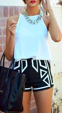 Fresh summer look 2015 - mint blouse, striped shorts and black bag.