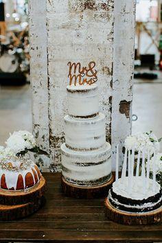 Me. & mrs. wedding topper for gorgeous naked cake