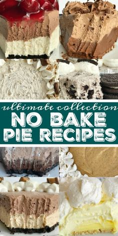 The ultimate collection of tried & tested family favorite no bake pie recipes. These pie recipes are perfect for Thanksgiving dessert or any Holiday dinner. No Bake Pie Recipes - No Bake Pie Recipes Easy Pie Recipes, Easy No Bake Desserts, Köstliche Desserts, Tart Recipes, Best Dessert Recipes, Holiday Desserts, Delicious Desserts, Dessert Healthy, Christmas Recipes