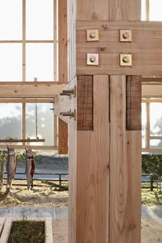 Nest We Grow by UC Berkeley Each glulam timber column is intersected by two…