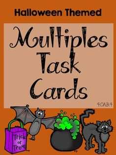 I hope you find this resource useful for your class!Included:1. Scoot recording sheet2. Scoot answer sheet3. Multiples Halloween themed task cards - numbered 1-244. Multiples - milder version of Halloween theme task cards for religion sensitive students who might not be able to participate if certain holiday clipart is included - numbered 1-245.