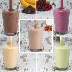 Food - Protein Smoothies 5 Ways breakfast health simple easy Smoothie Proteine, Protein Smoothie Recipes, Breakfast Smoothie Recipes, Health Breakfast, Healthy Smoothies, Healthy Drinks, Healthy Snacks, Healthy Recipes, Simple Smoothies