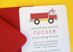 Fire Truck Birthday Party Invitation by LittleMavens on Etsy, $2.00