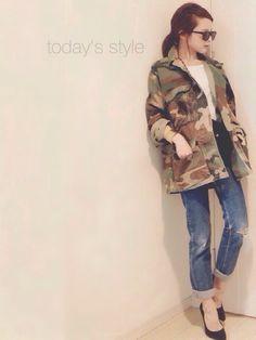 VINTAGEのミリタリージャケットを使った田中亜希子さんのコーディネートです。│