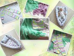 Купить Комплект на выписку - белый, фиолетовый, комбинезон, комбинезон вязаный, плед, плед вязаный