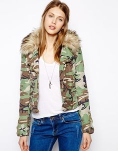 Denim & Supply By Ralph Lauren Camo Padded Biker Jacket