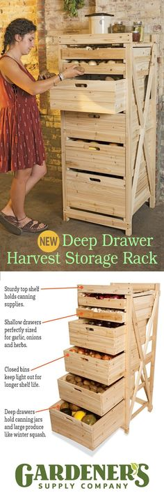 Deep Drawer Harvest Storage Rack This spacious and spacesaving rack holds a pantrys worth of produce The deep drawers provide dark storage for potatoes and onions as well. Pallet Projects, Home Projects, Woodworking Projects, Unique Woodworking, Storage Bins, Storage Rack, Food Storage, Storage Ideas, Clothes Storage