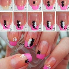 My post for today is called 15 amazing and useful nail tutorials.You will be shown many ways in which you can do your nails quickly and easily. Cat Nail Art, Cat Nails, Love Nails, Pretty Nails, Fabulous Nails, Creative Nails, Nail Tutorials, Simple Nails, Beauty Nails