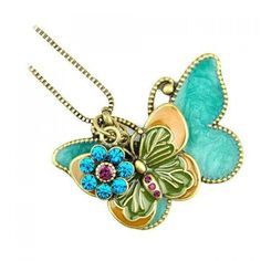 4.19$  Buy now - http://diuzv.justgood.pw/go.php?t=YE0187401 - Retro Romantic Style Double Butterfly Design Rhinestone Embellished Sweater Chain For Women 4.19$