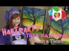 My newest Lesson Tree Painting with drips is up! It has the stained glass tree with drip effect ready for your paint along! Brought to you by Hart Party by The art Sherpa Cinnamon Cooney