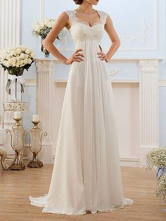 beach wedding dress on sale at reasonable prices, buy Simple Chiffon V-neck Lace Up Vestidos De Noiva Pleats Beach A-line Long Beach Wedding Dresses Robe De Marriage Bridal Gowns from mobile site on Aliexpress Now! Modest Wedding Gowns, Pregnant Wedding Dress, Sweetheart Wedding Dress, Tulle Wedding, Dream Wedding Dresses, Bridal Dresses, Maternity Wedding, Boho Wedding, Party Dresses