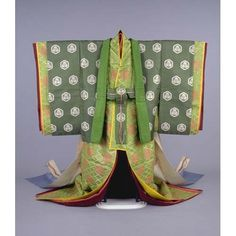 Karaginu (Formal Court Robe) with per prior pinner: Three-Leafed Hollyhocks on Green Linked Tortoiseshell Ground.