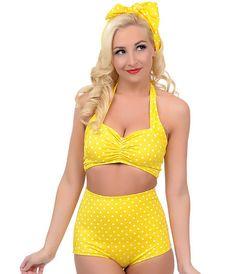 d0b9b2b061d77 Style Yellow   White Polka Dot Two Piece High Waisted Halter Bikini