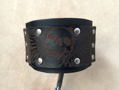 Skull and flames black genuine leather by ChristyKeysCreations
