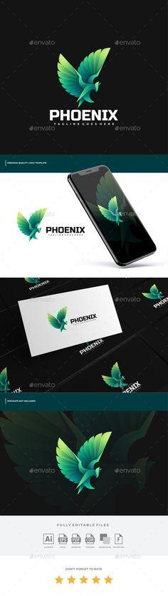 Phoenix Gradient Logo Template - Animals Logo Templates Logo Design Template, Logo Templates, Gradient Logo, Portfolio Logo, Best Logo Design, Animal Logo, Coreldraw, Cool Logo, Phoenix