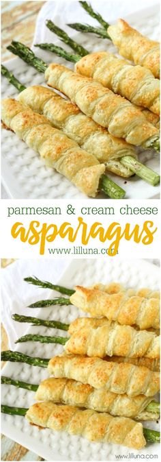Our favorite way to have Asparagus - wrapped in puff pastry and filled with cream cheese! Asparagus wrapped in Puff Pastry, filled with cream cheese and topped with parmesan. So simple and delicious, it's the perfect side for any meal. Asparagus Rolls, Parmesan Asparagus, Asparagus Recipe, Asparagus Appetizer, Asparagus Wrapped In Prosciutto, Roast Asparagus, Ways To Cook Asparagus, Creamed Asparagus, Vegetarian Recipes