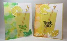 Lemonade cup card with Bokeh Technique