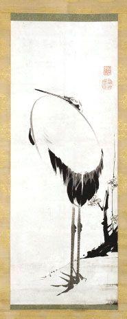 Ito Jakuchu – Crane. Japanese hanging scroll. Eighteenth century. Denver Art Museum.