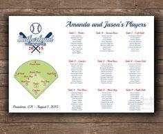 Baseball themed Wedding Seating chart - Printable file - Funny sport lovers wedding table plan by redlinecs on Etsy
