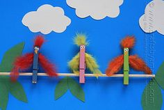 Clothespin Birds on a Branch Make colorful birds from wooden clothespins and feathers. A fun late summer craft for the kids! The post Clothespin Birds on a Branch was featured on Fun Family Crafts. Animal Crafts For Kids, Adult Crafts, Toddler Crafts, Art For Kids, Dinosaur Crafts, Bird Crafts, Plate Crafts, Edible Crafts, Easy Crafts