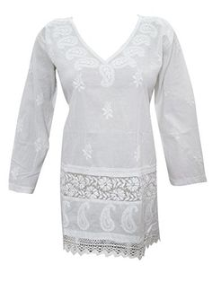 Mogul White Cotton Floral Embroidered Tunic Top Blouse Shirt (Small) Mogul Interior http://www.amazon.com/dp/B013WCLWBS/ref=cm_sw_r_pi_dp_MrOZvb15WVW6V