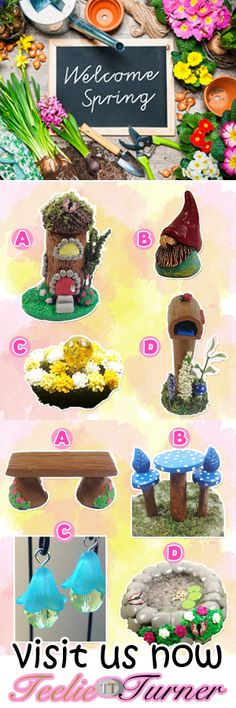 Spring Handmade Essentials. wwww.teeliesfairygarden.com . . . It's Spring time! Wanted to have your very own Spring fairy garden? Check this out to see what you need to start your very own fairy garden today! #springfairygarden