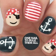 Pirate nail art for @divinecarolineteam - see the link in my description for step-by-step instructions…""