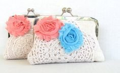 Coral bridesmaid clutch coral and blue wedding by PaperFlora, $41.00