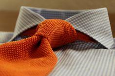 tie with orange gingham shirt