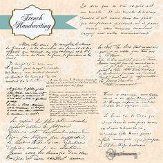 Instant Download Vintage French Handwriting от VerdigrisStudios