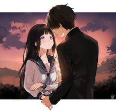 Sauce: pixiv by mery Anime Couple Kiss, Cute Anime Couples, Hyouka Chitanda, Manga Anime, Tsubaki Chou Lonely Planet, Satsuriku No Tenshi, Boku No Hero Academy, Anime Ships, Anime Art Girl