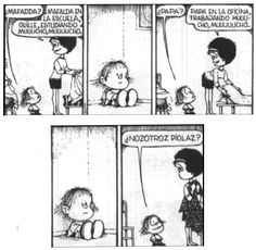 Guille Mafalda Comic, Love Deeply, Humor Grafico, Calvin And Hobbes, Sarcastic Quotes, Teacher Resources, Comic Strips, I Movie, Memes