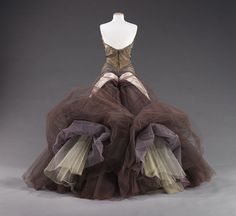 """Butterfly"" ball gown, 1955  Charles James (American, born Great Britain, 1906–1978)  Silk: smoke gray chiffon; pale gray satin; aubergine, lavender, and oyster; synthetic: white nylon  Brooklyn Museum Costume Collection at The Metropolitan Museum of Art, Gift of the Brooklyn Museum, 2009; Gift of Mrs. John de Menil, 1957 (2009.300.816)"