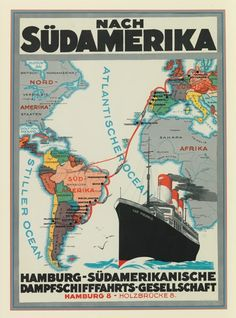 Vintage Ship Lines Travel Poster: Voyages from Hamburg to South America Retro Poster, Poster Ads, Vintage Travel Posters, Poster Prints, Vintage Boats, Vintage Art, Tourism Poster, Kunst Poster, Bus Travel