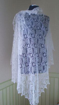 Hand knitted wedding shawl traditional Estonian by KnitANDlace, $155.00