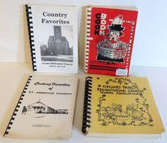 Lot Of Four Vintage Church Cookbooks by mycrochetgarden on Etsy, $18.00 Apple Head Dolls, Vintage Cookbooks, Etsy Store, Retro Vintage, Miniatures, Fun, Recipes, Food Recipes, Rezepte